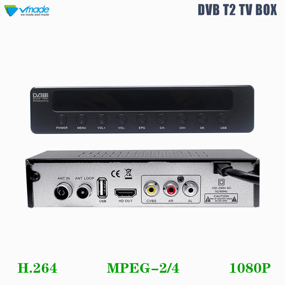 Vmade Hot Sale TV Tuner DVB T2/T HD 1080P Digital Terrestrial Receiver Support H.264 MPEG 2/4 3D Interface Stardard Set Top Box
