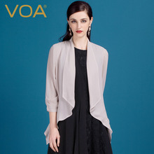 VOA New silk georgette cardigan shirt female thin coat sunscreen silk blouse shirt in summer air conditioning B1017