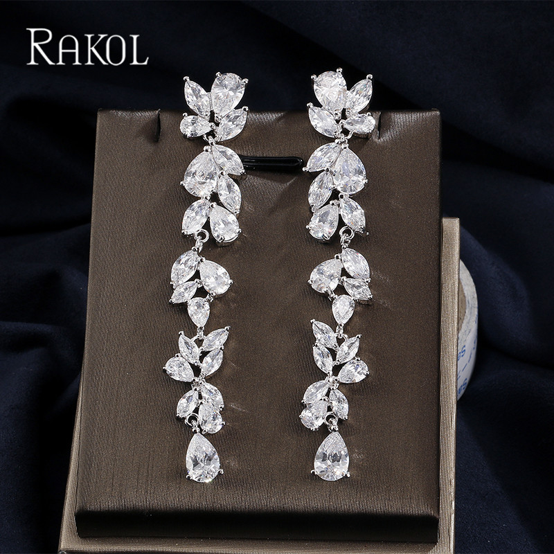 RAKOL Fashion Europe Style Zirconia Bridal Wedding Jewelry Long Leaf Austrian Crystal Dangle Drop Earrings For Women