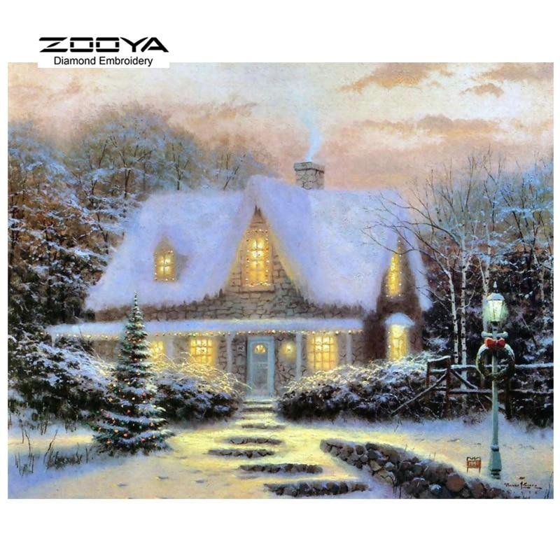 ZOOYA Diamond Embroidery 5D DIY Diamond Painting Cottages Snow Scenic Diamond Painting Cross Stitch Rhinestone Decoration CJ443