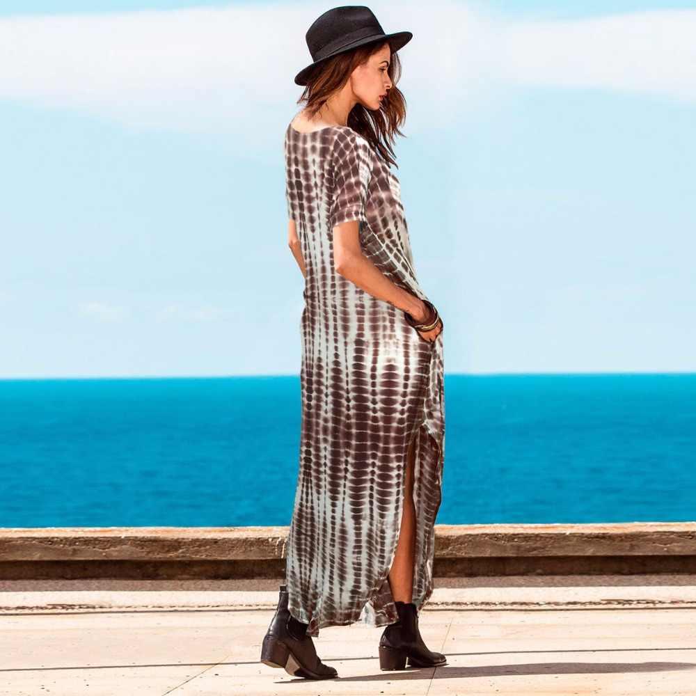 Donne di estate Vestito Dalla Spiaggia Gradiente Onda Della Banda Stampato Split Con Scollo A V Chiffon Maxi Vestiti Lunghi Sciolti Vestidos Vestito