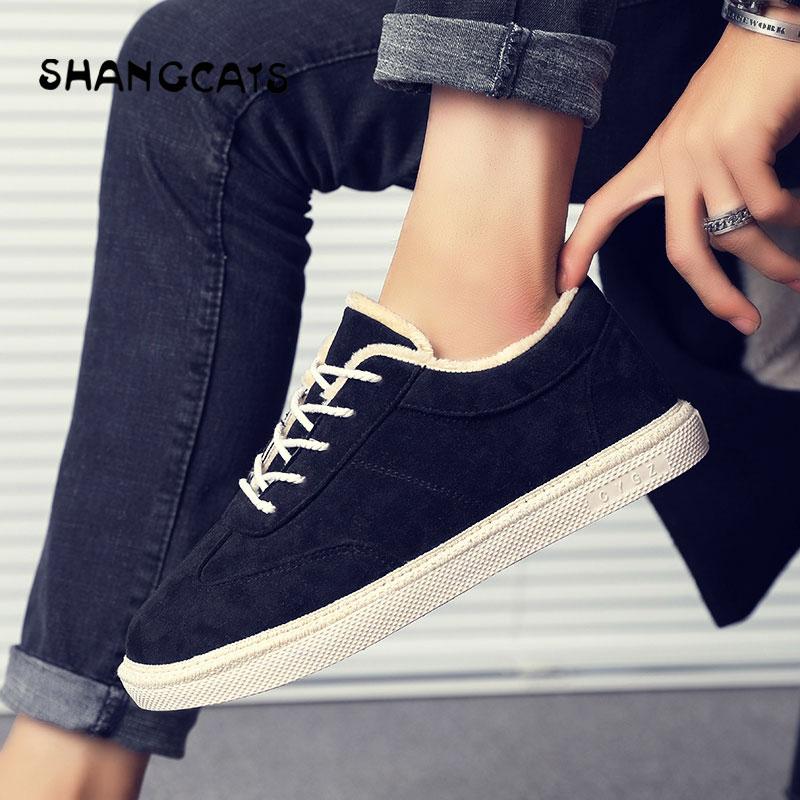 Mode Hommes Peluche Confortable Lace khaki Plat Black Suede Chaussures brown En Chaud Vulcaniser Sneakers Mâle D'hiver up qFWSE