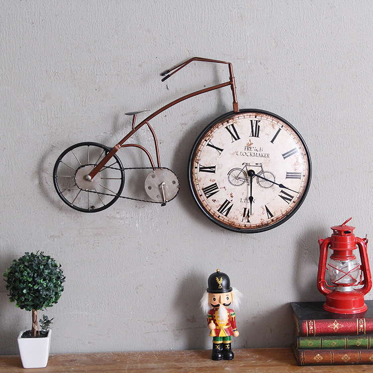 Bike Design Wall Clock : Retro personality bike design hanging wall clock vintage
