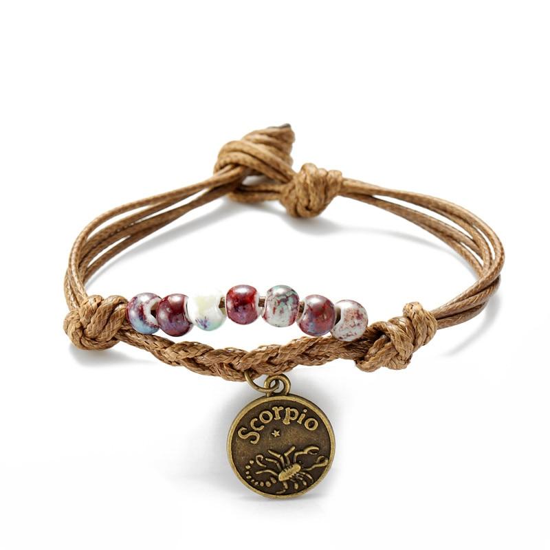 2019 New Fashion Scorpio Charm Bracelet Vintage Bohemian Jewelry Best Birthday Gift For Boy Girl Women Men Dropship