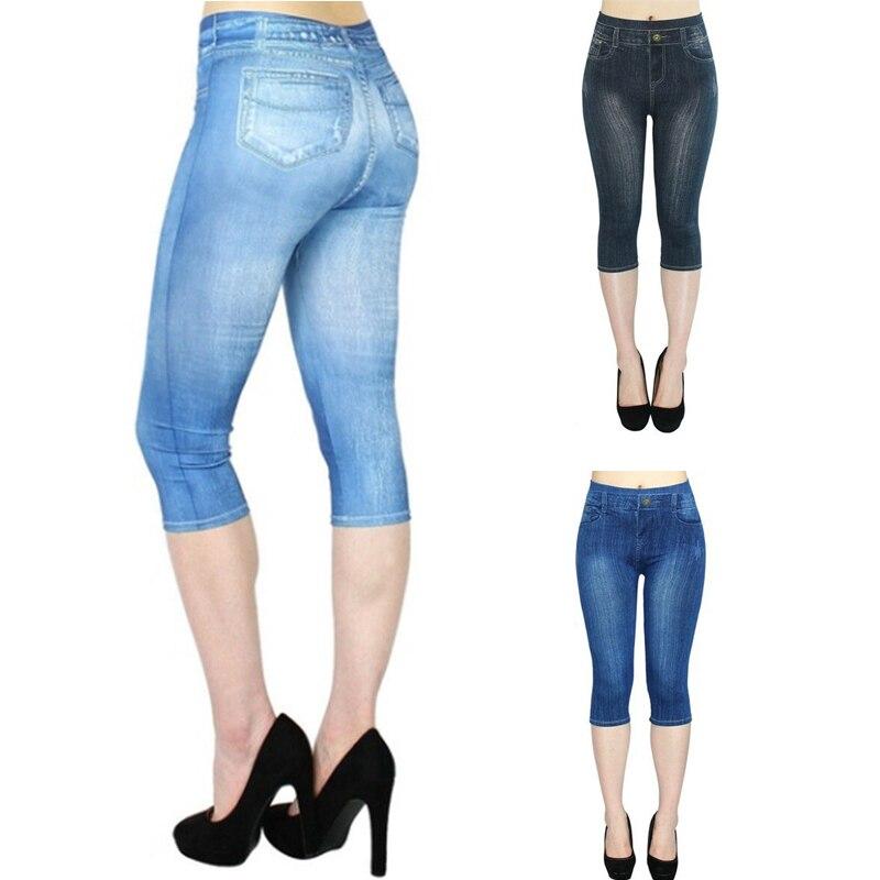 Summer 3/4 Leggings Women Breeches Elastic Slim Jeans Leggings High Waist Capri Pants Solid Color Jeggings Female Short Legging