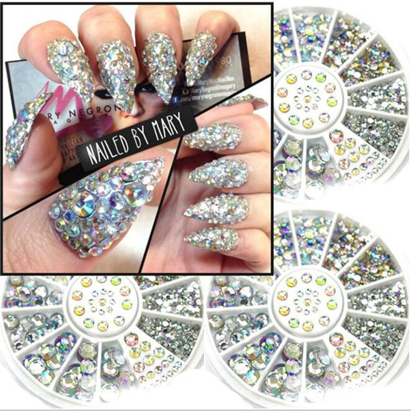 Mix 3sizes about 200 pcs nail art tips crystal glitter for 3d acrylic nail art decoration