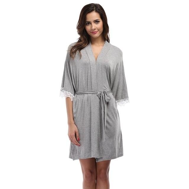 Women s Moldal Kimono Robe Lace Stitching Half Sleeves Spa Robe Summer  Bathrobe Sexy Nightwear Short Pyjamas Lounge 83c0fee90