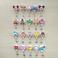 20pcs Lot Cartoon Retractable Pull Key Ring Chain Reel ID Name Tag Card Badge Holder Reel