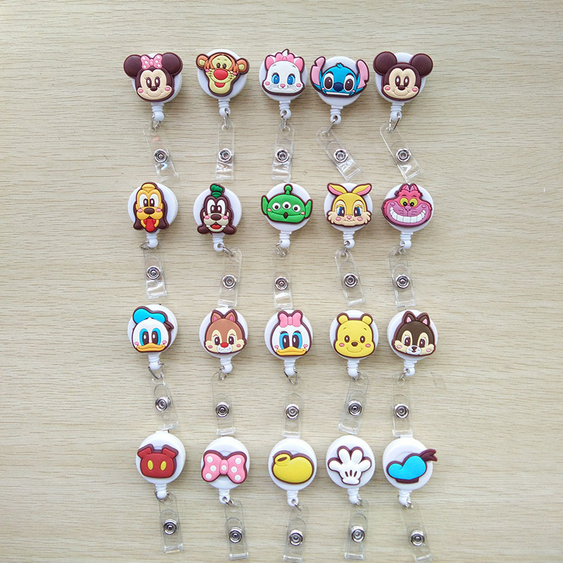 20pcs/lot Cartoon Retractable Pull Key Ring Chain Reel ID Name Tag Card Badge Holder Reel Recoil Belt Key Ring Clip PY196