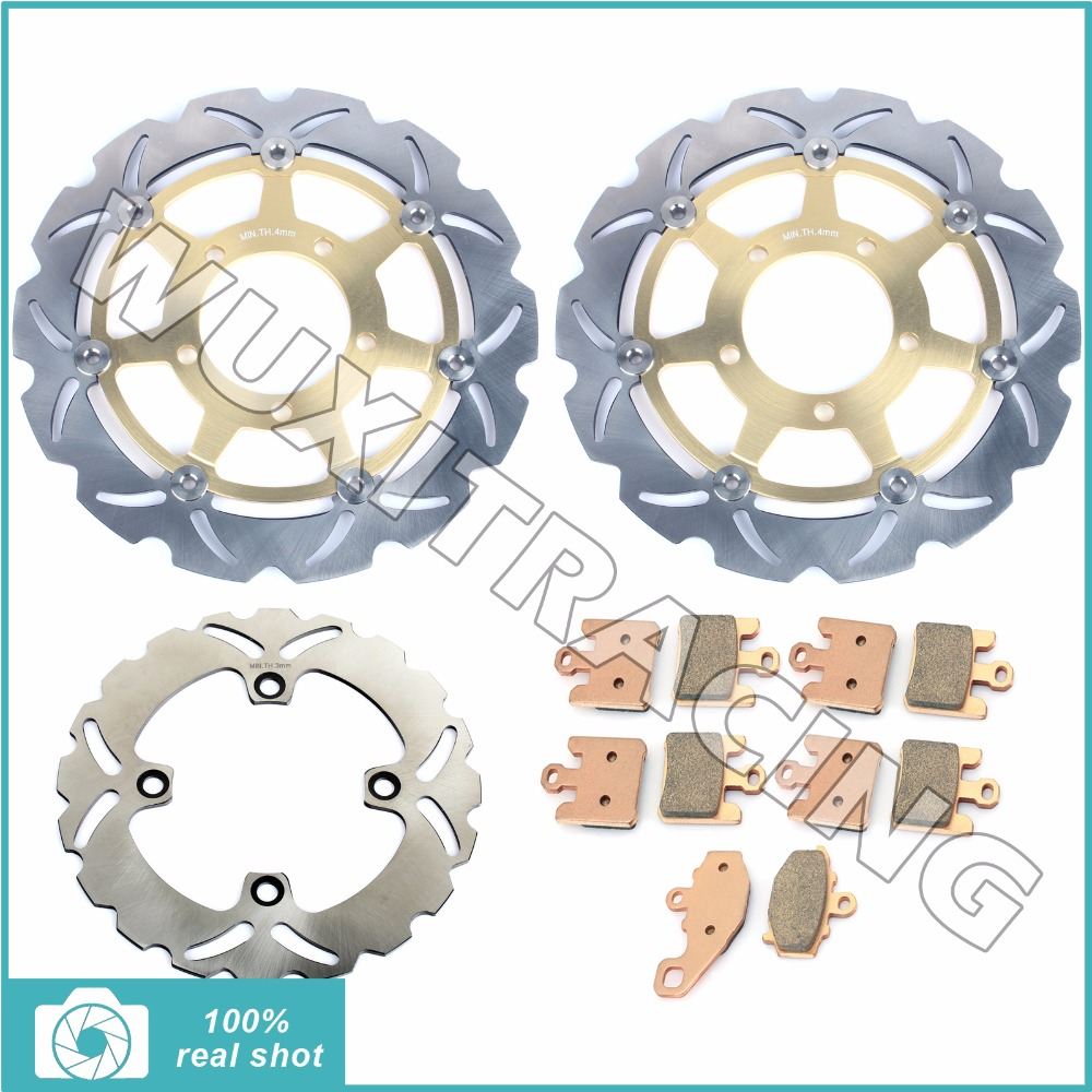 280mm New Motorcycle Full Set Front Rear Brake Discs Rotors Pads fit for KAWASAKI ZX6RR NINJA ZX600 03 04 ZX6R NINJA ZX636 03-04 full set front rear brake discs disks rotors pads for suzuki gsxr 750 94 95 gsx r 1100 p r s t 1993 1994 1995 1996