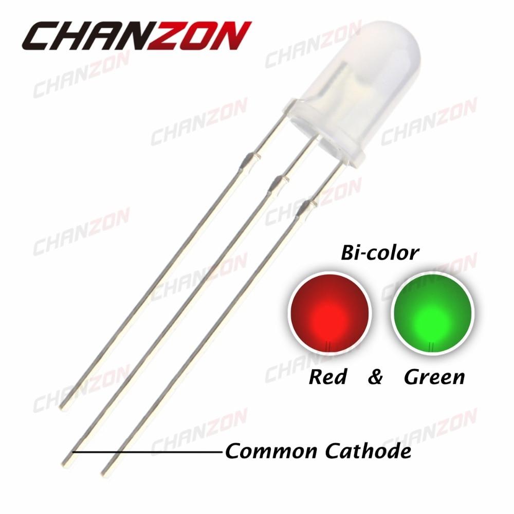 Blue 3 Pin LED Light Lamp Common Cathode 200Pcs 5mm Diffused Bi-Color Red