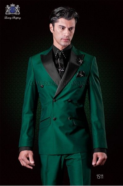 Последние Пальто Пант Дизайн Зеленый Двойной Брестед Атласная Мужчин Костюм Slim Fit 2 Шт. Смокинг Итальянский Обычай Стильные Костюмы Blazer Vestido