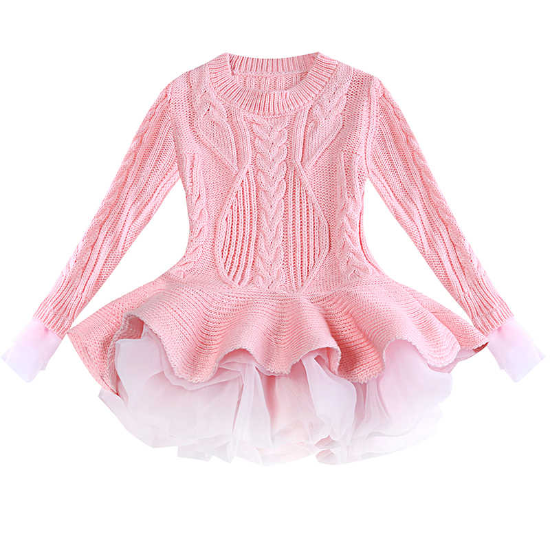 f6d1b8520 Knitted Autumn Winter Girls Mini Tutu Dress Casual Long Sleeve Lace Mesh Kids  Dresses For Girl