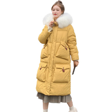 Long down cotton jacket women coat 2019 winter new down parkas womens thicken warm down cotton coats female hooded women jackets стоимость
