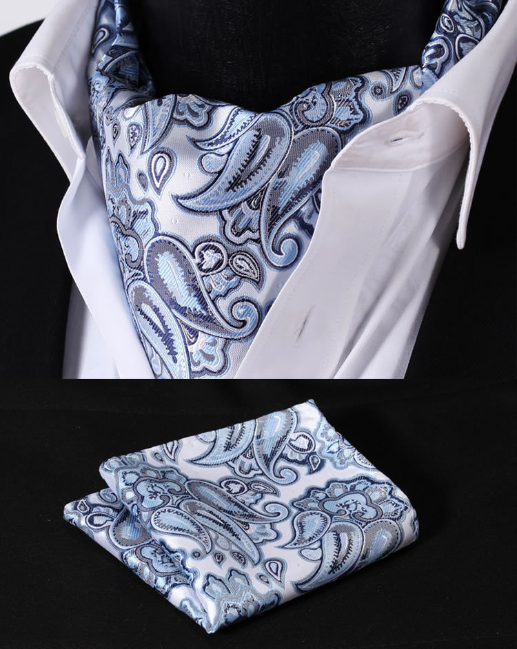 RF302B Blue Gray Paisley Floral Silk Cravat Woven Ascot Tie Pocket Square Handkerchief Suit Set - HISDERN store