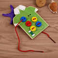 Wooden Toys Toddler Sew On Buttons Board For Children Kids Baby Infant