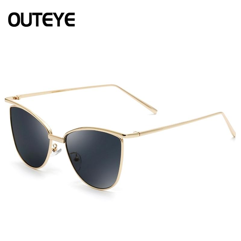 OUTEYE New Fashion Metal Frame Eye Sunglasses Women Brand Designer Glasses Vintage Sun Glasses Mirror Oculos