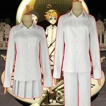 Fantasia cosplay de neverland prometida, fantasia de anime yakusoku no neverland, uniforme escolar feminino masculino e feminino