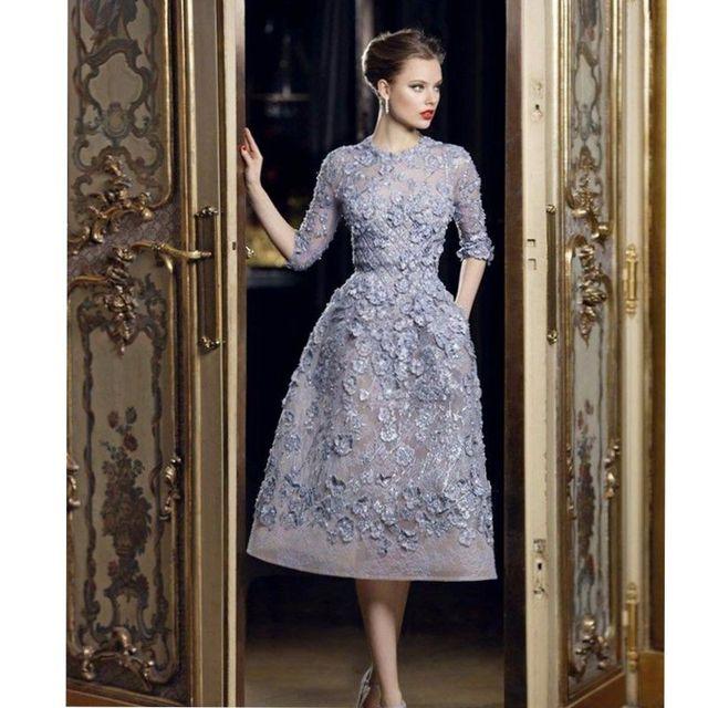 Vestidos de baile últimas vestidos de alta costura de elie saab media manga  formal prom dress 49db25ab1fa5