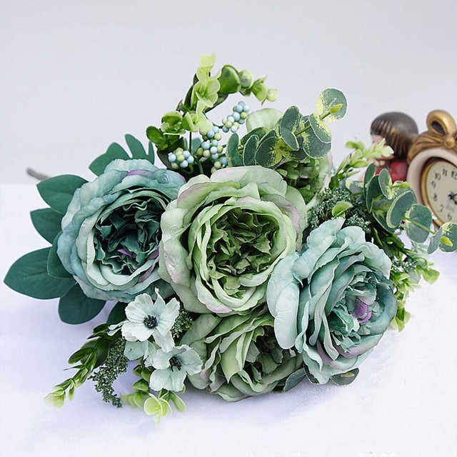 1 Bundle Artificial Plastic Flowers For Home Vases Room Wedding