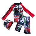 Boy Summer Swim Suit Two Pieces Set With Hat Beach Cartoon Swimwear Floral Toddler Kids Swimwear Rush Guards Board Shorts S2063