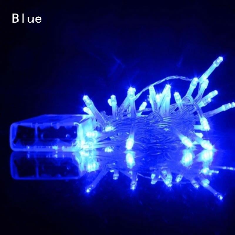 2 м 3 м 4 м 5 м 10 м светодиодный Сказочный свет 3* AA на батарейках водонепроницаемые рождественские огни для праздничное украшение для вечеринки, свадьбы - Испускаемый цвет: Синий