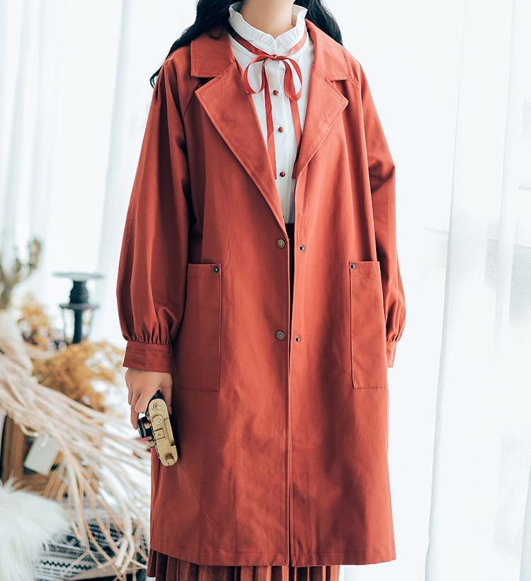 Explosion Coupe coréen Nouvelle Tempérament vent Longue Vintage Lâche À Top rouge Manteau Longues Beige Coton Femmes Automne vert Manches Femelle 2018 Pop CqPnxpIEww