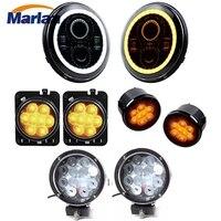 Marlaa 7 круглые светодиодные фары + 4D 7 дюймов 60 Вт светодиодный свет и янтарный Fender сторона Maker фонари в сборе для 07 17 Jeep Wrangler