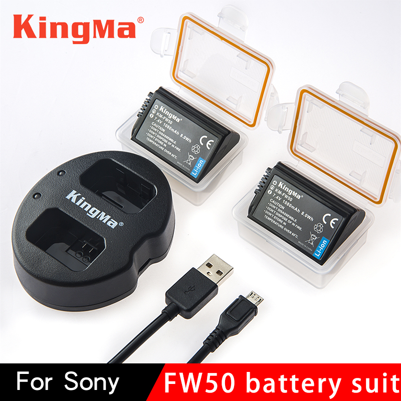 Kingma NP-FW50 NP FW50 NPFW50 batería Akku + cargador Dual para Sony Alpha a6500 a6300 a7 7R a7R a7R II a7II NEX-3 NEX-5