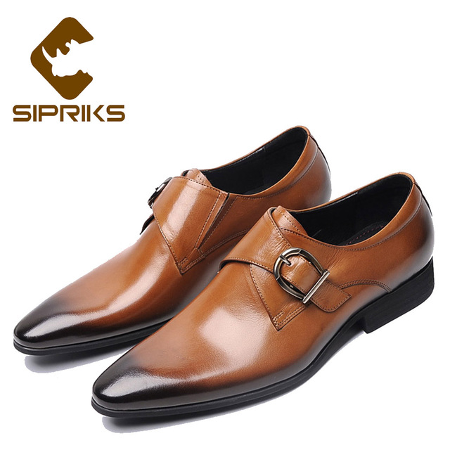 83c5b9cb4d6 Sipriks Mens Single Monk Strap Shoes Real Leather Burgundy Dress Shoes  Pointed Toe Social Men Shoes Tan Leather Wedding Shoes