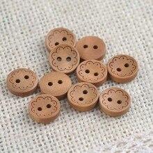 Натуральные декоративные деревянные пуговицы для пришивания скрапбукинга 50 шт 13 мм MT1377X