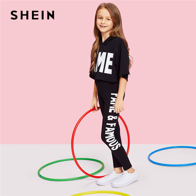 Image 3 - SHEIN Black Letter Print Hooded Top And Pants Set Girls Clothes 2019 Spring Fashion Active Wear Half Sleeve Kids Clothing-in Clothing Sets from Mother & Kids