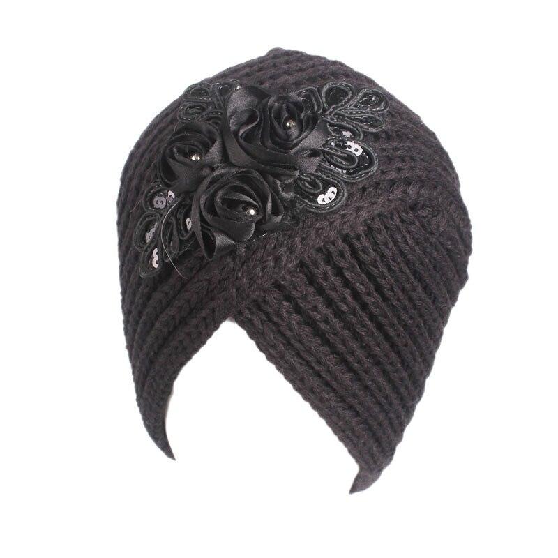 Muslim Vintage Winter Hat Warm Knit Cap Print Flower Beanie Sleep Chemo Turban Headwear Cancer Patients