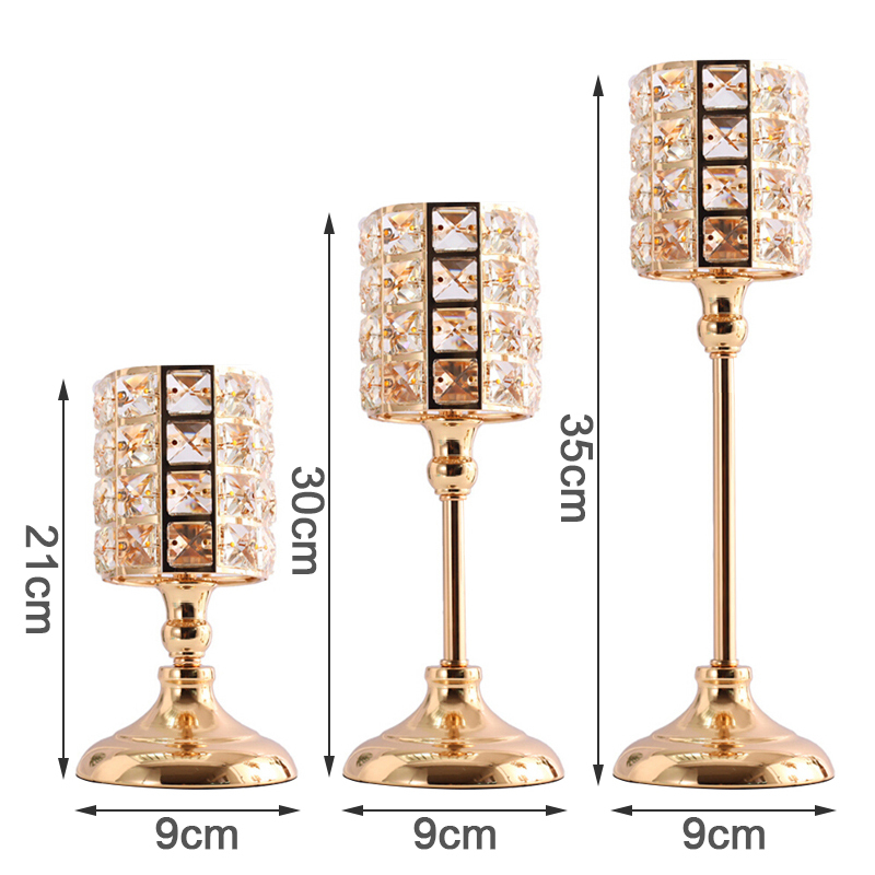 Candle Holders Nordic Candlestick Ornaments Gold Crystal Candle Holders Table Candlestick for Home Christmas Decoration image