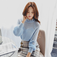 Dabuwawa Women Winter Sexy Hollow Out Knitted Sweater 2018 New Long Sleeve Loose High Street Vintage Pullovers Top for Girls