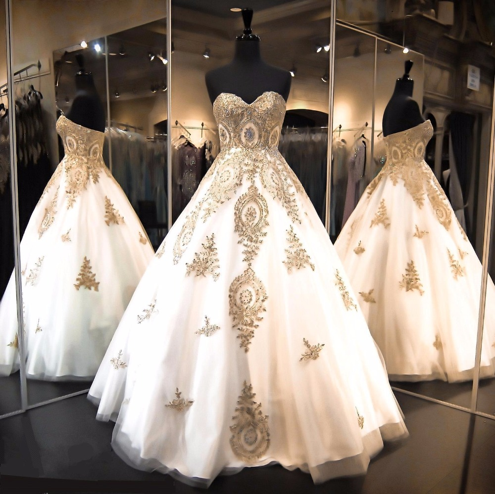 Golden Color Wedding Gowns: Vintage Gold Beaded Appliques Ball Gown Strapless Wedding