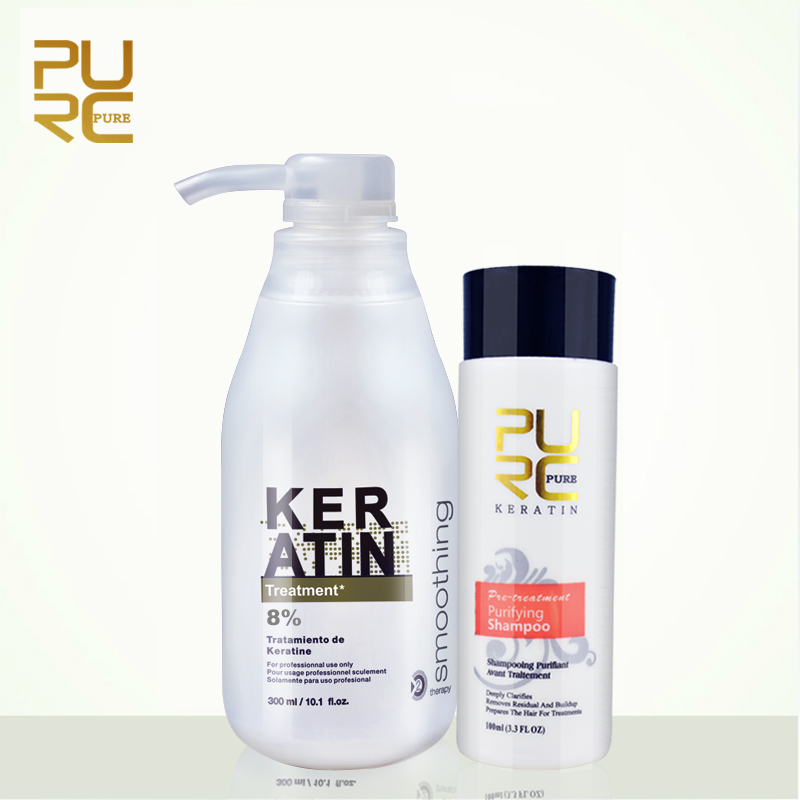 2pcs/set PURC 8% Brazil Keratin Treatment 300ml, 100ml Purifying Shampoo Make Hair Straightening Hair Care Products P25