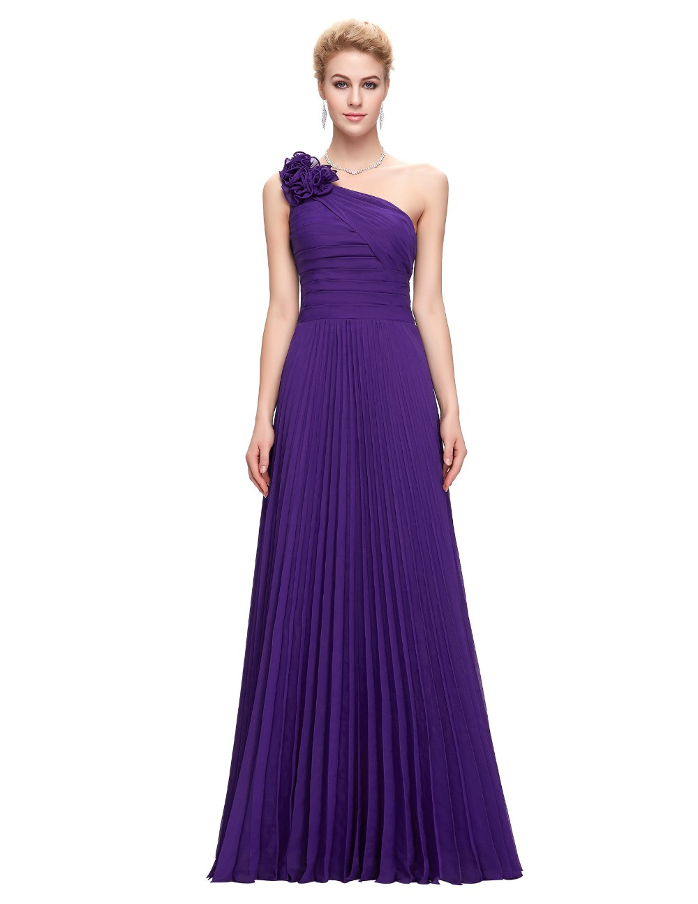Grace Karin Chiffon Long Evening Dress One Shoulder Pleated Red Green Purple Royal Blue Formal Evening Dress Party Gowns 2018 16
