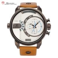 Caixa de Couro De luxo Relógio Do Esporte Tubarão BALEIA Branca Faixa Marrom Azul Chronograph Envoltório Grande Militar Men Quartz Moda Relógios/SH164
