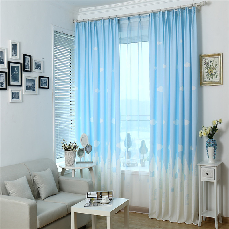 Blue Pink Cartoon Castle Shade Blinds Window Blackout Curtains For Children Kids Bedroom Windows Treatments