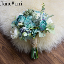 JaneVini Ins Blue Bride Bouquet Beach Wedding Flower Artificial Succulent Plant White Bridal Brooch Holding Flowers 2019
