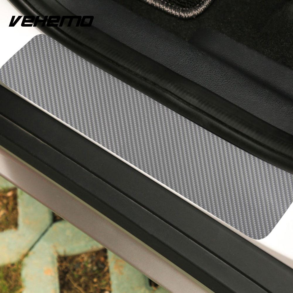 Vehemo Carbon Fiber Car Door Sill Sticker Welcome Pedal Door Sill Decals Textured Anti Scratch Plate SUV Automobile