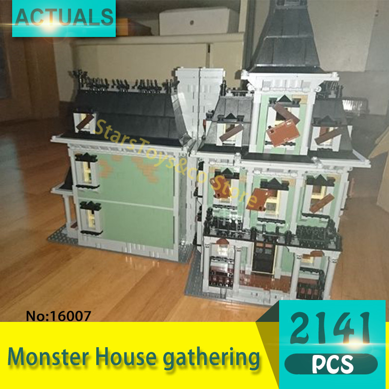 Lepin 16007 2141Pcs Movie Series Monster House gathering Model Building Blocks Set  Bricks Toys For Children Gift lepin 16030 1340pcs movie series hogwarts city model building blocks bricks toys for children pirate caribbean gift