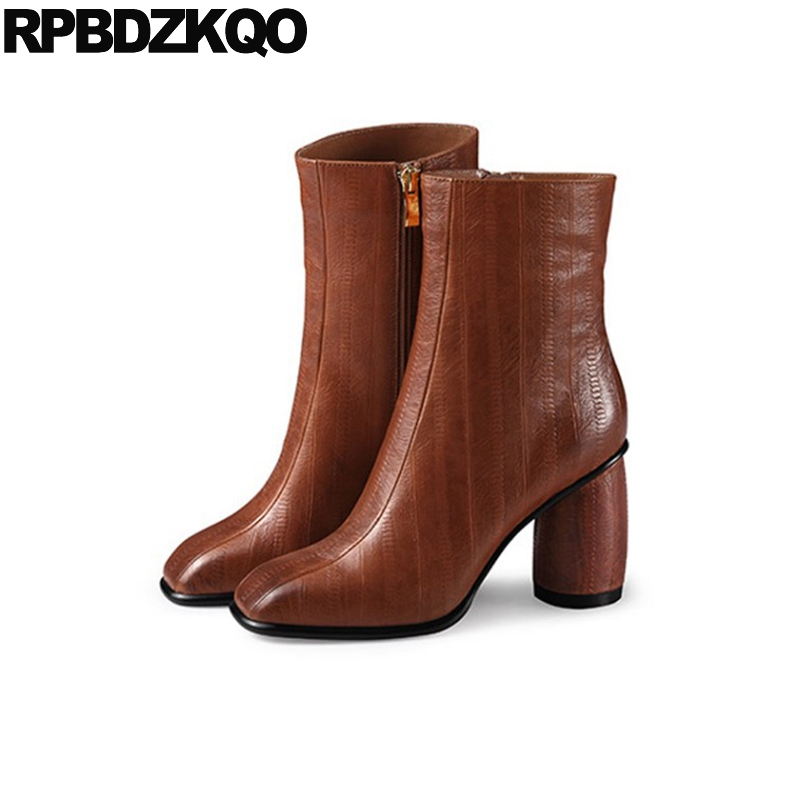 Booties Fall Square Toe 2017 Chunky Brown Autumn Genuine Leather Big Brand Women Winter Boots Ankle Shoes Short Fur High Heel все цены