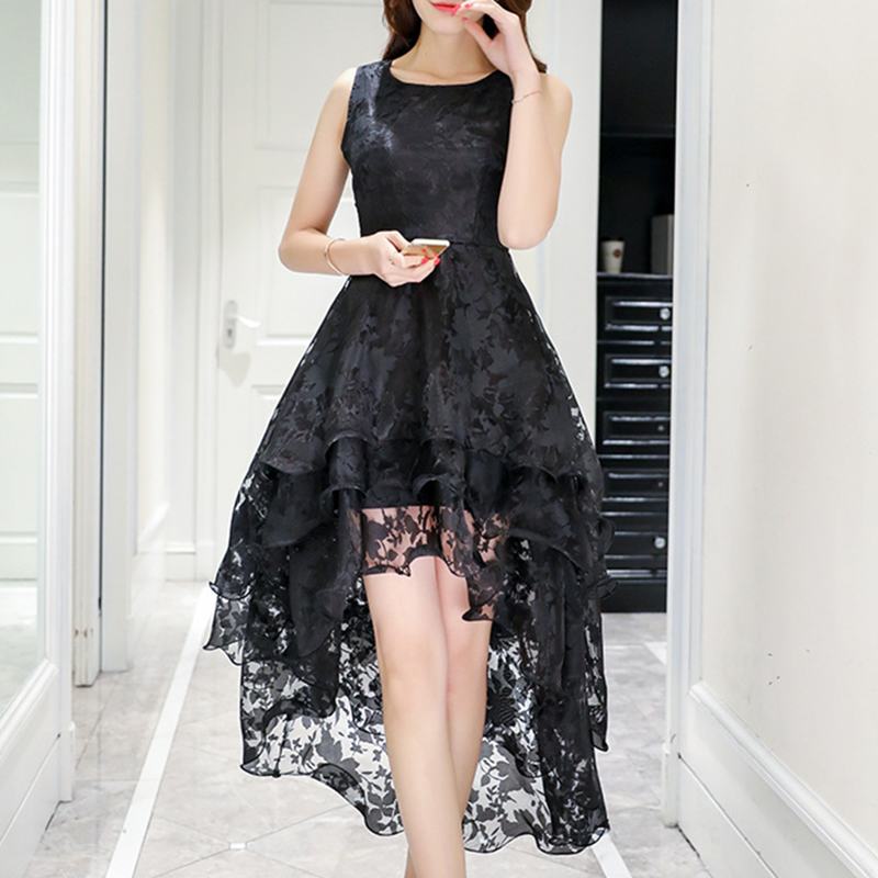 hot 2018 Summer Womens dress Ladies Elegant Sleeveless round neck Lace Organza fit and flare Dress evening party fashion dress
