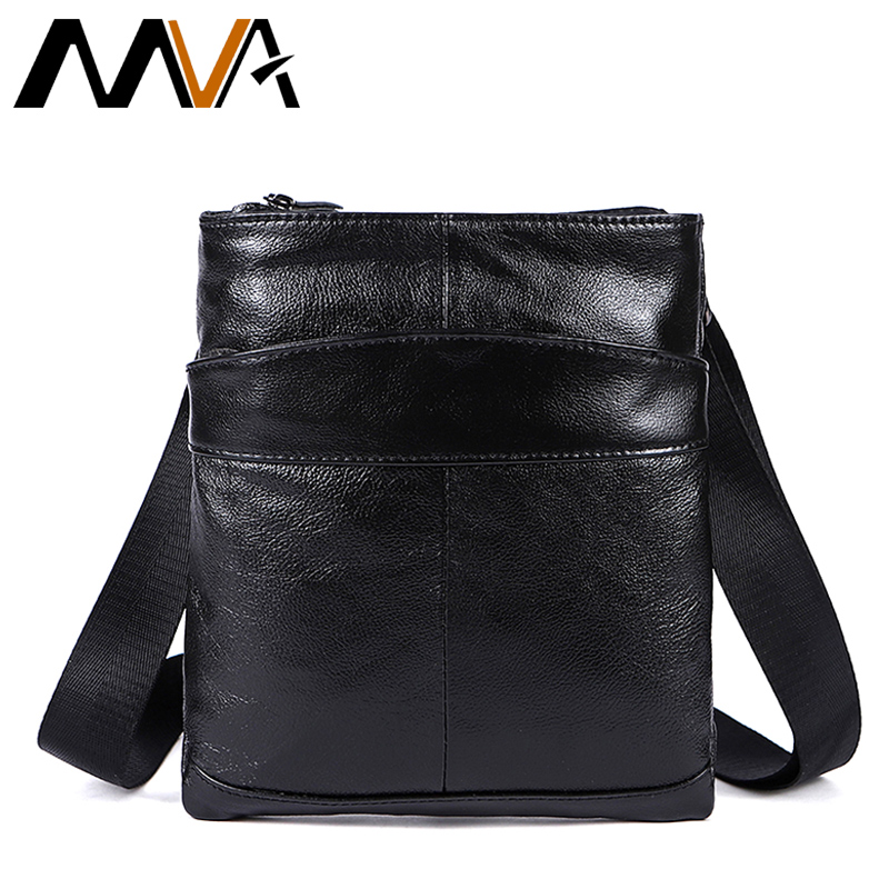 MVA Mens Messenger Bags Genuine Leather Bag Men Flap Black Small Leather Shoulder Bag Male Causal Crossbody Bags for Men 703 women plus size tankini set navy blue floral bathing suit sexy triangle bottom bikini push up swimwear female tankini swimsuit