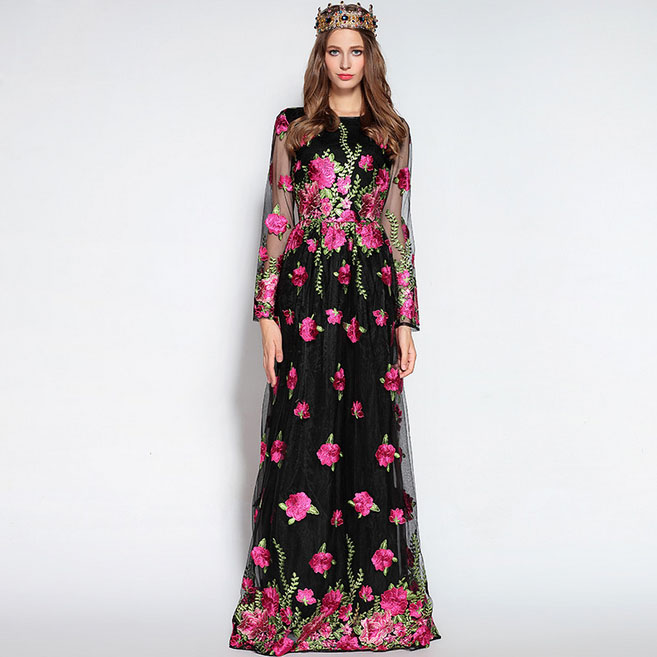 Luxury New Arrival 2018 Spring Womens O Neck Long Sleeves Embroidery Floral Elegant Maxi Runway Dresses