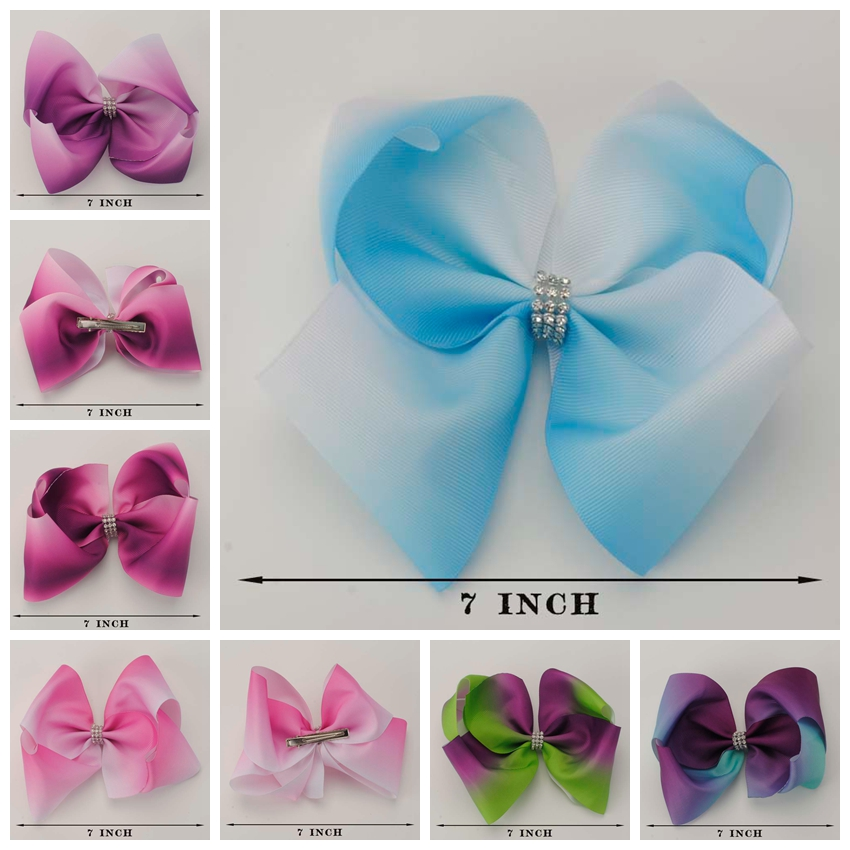 5pcs/lot 7  rainbow Gradient Hair Bow With alligator Clip For Girls Diamond Knot Hair Clips Acceessories For Girl