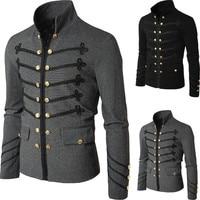 2019 New Men's Slim Fit Jacket Tunic Fashion Rock Black Gray Vintage Gothic Coat Steampunk Coat Men Casual Outerwear
