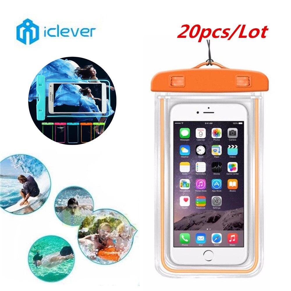 imágenes para Iclever 20 unids/lote natación teléfono case resplandor impermeable subacuática seco case cubierta para el teléfono celular de la bolsa del paquete debajo de 5.7 pulgadas